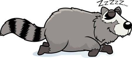 A cartoon illustration of a raccoon sleeping.
