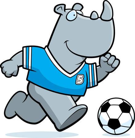 A cartoon illustration of a rhinoceros playing soccer. Illustration