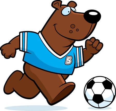 A cartoon illustration of a bear playing soccer.