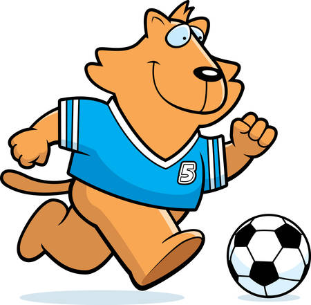 A cartoon illustration of a cat playing soccer. Illustration