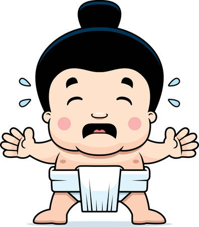 A cartoon illustration of a little sumo boy crying.