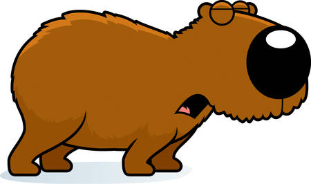A cartoon illustration of a capybara howling. Çizim
