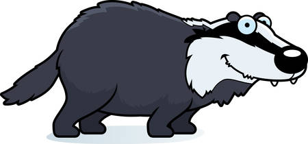 A cartoon illustration of a badger smiling and standing. Ilustracja