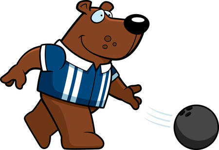 A cartoon illustration of a bear bowling a ball.