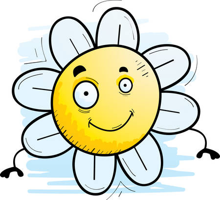 A cartoon illustration of a flower smiling.
