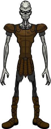 A cartoon illustration of an evil looking draugr. Иллюстрация