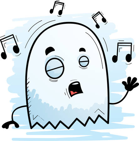 A cartoon illustration of a ghost singing.