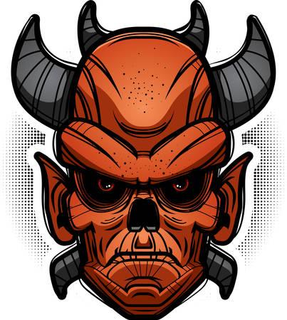 An illustration of a demon looking evil. Иллюстрация