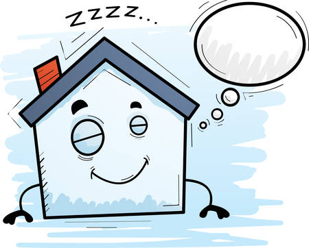 A cartoon illustration of a house sleeping and dreaming.