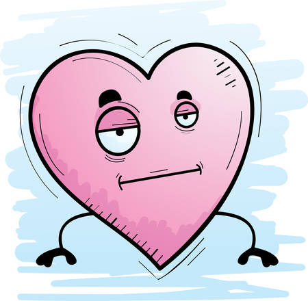 A cartoon illustration of a heart with a bored expression. Ilustração