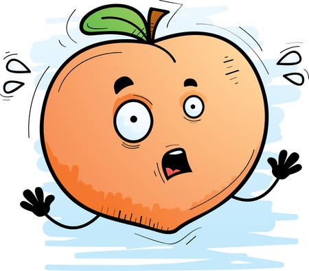 A cartoon illustration of a peach looking scared.