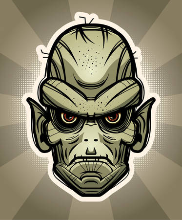An illustration of a goblin on a background.