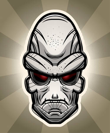 An illustration of an alien on a background.