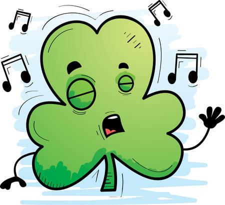 A cartoon illustration of a clover singing. Иллюстрация