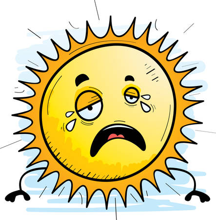 A cartoon illustration of the sun crying.
