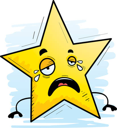 A cartoon illustration of a star crying.