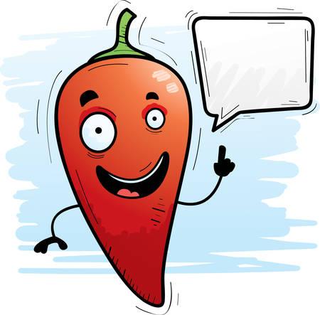 A cartoon illustration of a chili pepper talking. 일러스트