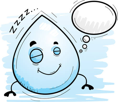 A cartoon illustration of a waterdrop sleeping and dreaming. Illustration