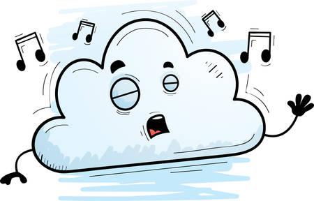 A cartoon illustration of a cloud singing. Çizim