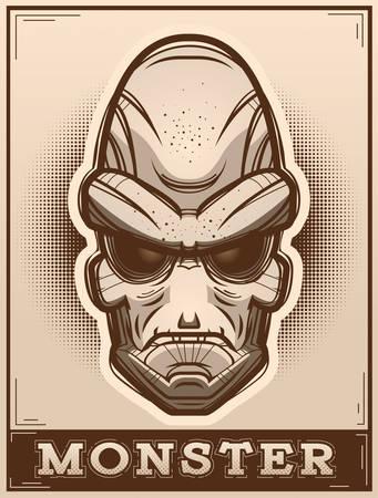 An illustration of an alien on a poster. Ilustração