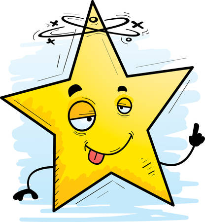 A cartoon illustration of a star looking drunk.
