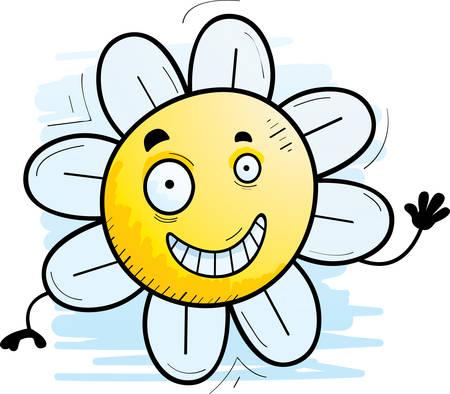 A cartoon illustration of a flower waving.