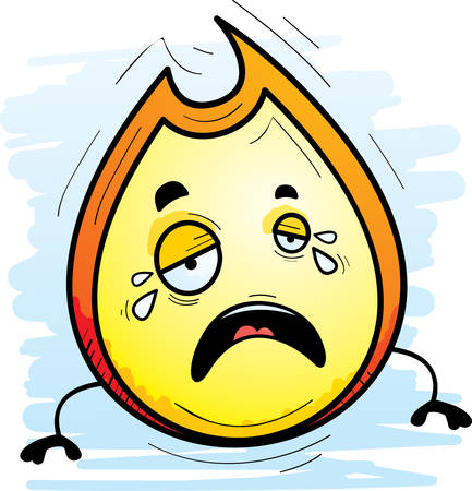 A cartoon illustration of a flame crying.