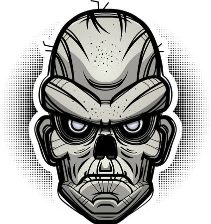 An illustration of a zombie looking evil.