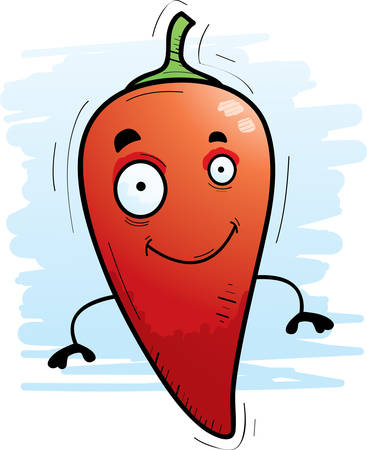 A cartoon illustration of a chili pepper smiling.