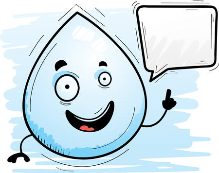 A cartoon illustration of a waterdrop talking.