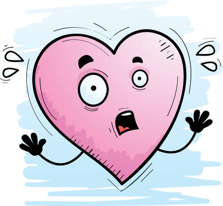 A cartoon illustration of a heart looking scared. Illustration