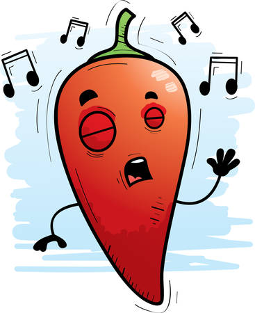 A cartoon illustration of a chili pepper singing.