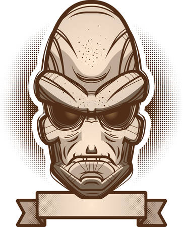 An illustration of an alien with banner.