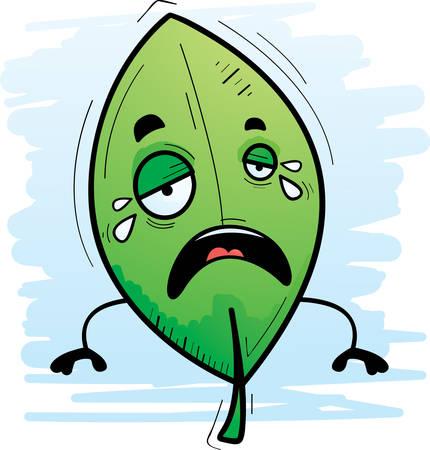 A cartoon illustration of a leaf crying.