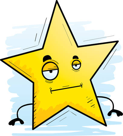 A cartoon illustration of a star with a bored expression.  イラスト・ベクター素材
