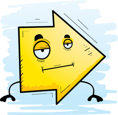 A cartoon illustration of a directional arrow with a bored expression.