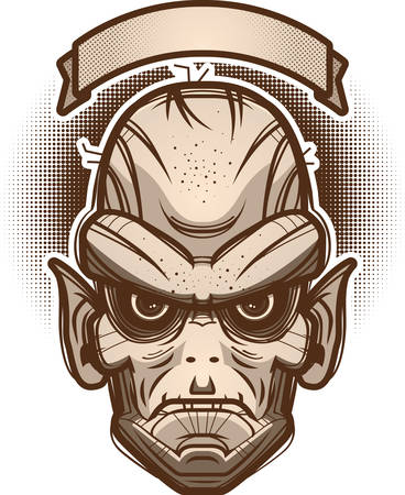 An illustration of a goblin with banner.