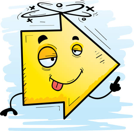 A cartoon illustration of a directional arrow looking drunk.