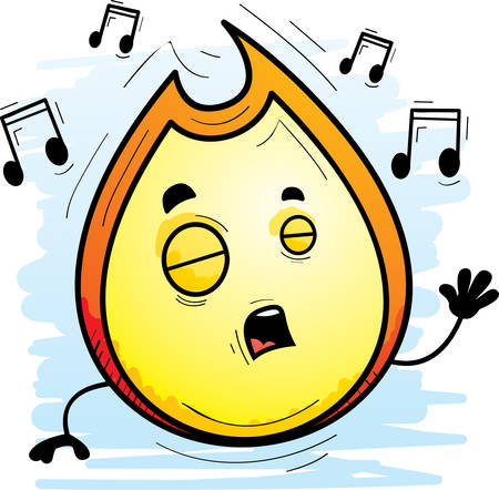 A cartoon illustration of a flame singing.