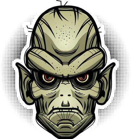 An illustration of a goblin looking evil. Иллюстрация