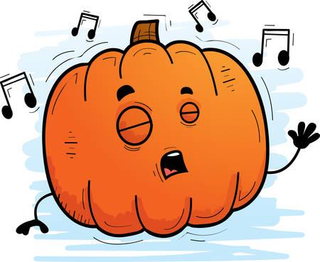 A cartoon illustration of a pumpkin singing.