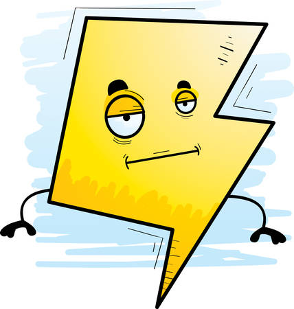 A cartoon illustration of a lightning bolt with a bored expression.