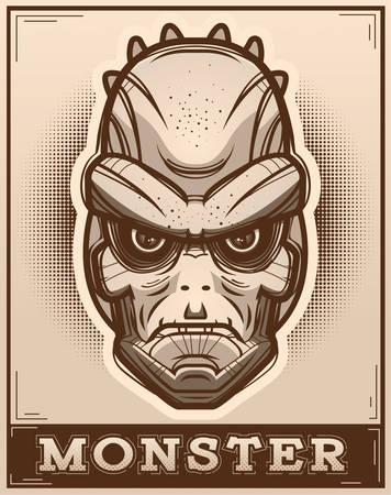 An illustration of a lizard man on a poster.