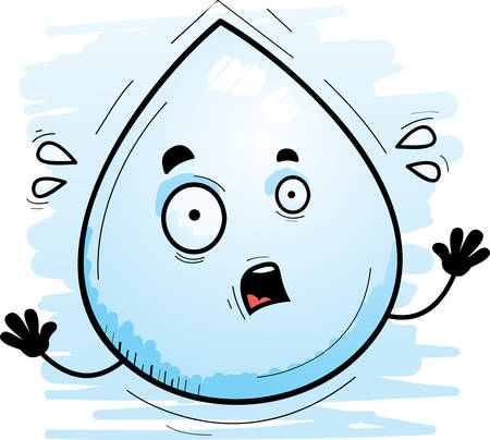 A cartoon illustration of a waterdrop looking scared.