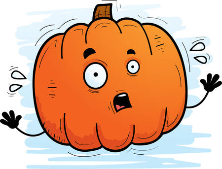 A cartoon illustration of a pumpkin looking scared. Ilustrace