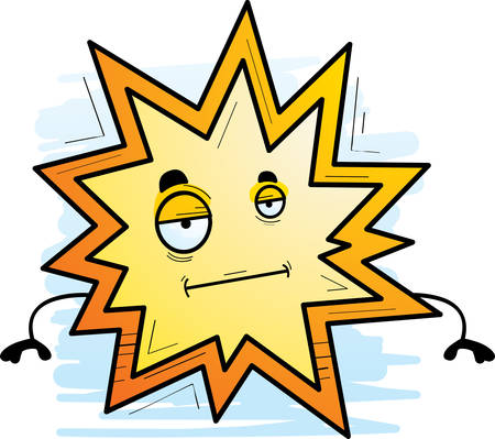 A cartoon illustration of an explosion with a bored expression.
