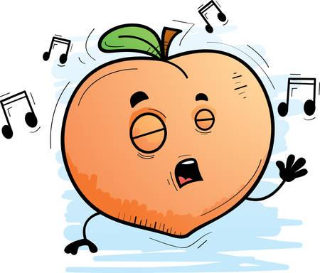A cartoon illustration of a peach singing.