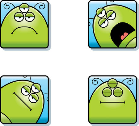 A cartoon icon set of an alien with sad and calm expressions.