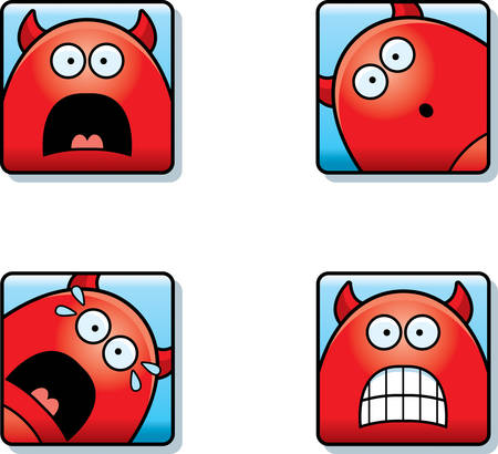 A cartoon icon set of a devil with scared expressions. Ilustrace