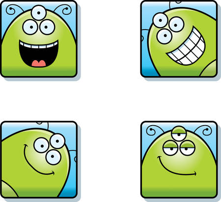 A cartoon icon set of an alien with happy expressions.
